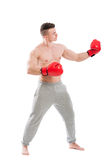 Boxer challanging and opponent Royalty Free Stock Image