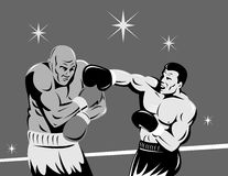 Boxer connecting a knockout Royalty Free Stock Photos