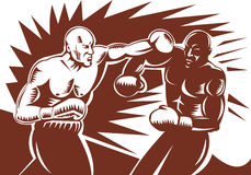 Boxer connecting a punch vector illustration