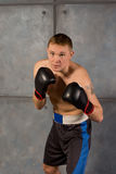 Boxer crouching forward with determination Royalty Free Stock Photos