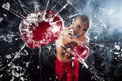 The boxer crushing a glass Stock Image