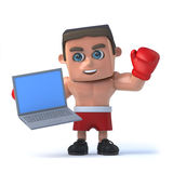 Boxer 3d, der seinen neuen Laptop-PC hält Stockfoto