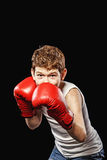 Boxer in a defensive stance Stock Photos