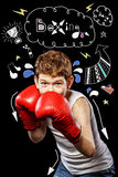 Boxer in a defensive stance Stock Images