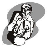 Boxer, der eine Haltung schlägt stock abbildung