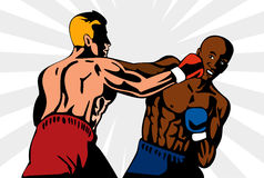 Boxer, der einen Ausscheidungswettkampf wirft Stockbilder