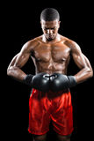 Boxer, der nach Ausfall aufwirft Stockbild
