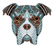 Boxer dog head zentangle stylized, vector, illustration, freehand pencil, hand drawn, pattern. Zen art. Ornate vector. Lace. Colo. R. Print for t-shirts royalty free illustration