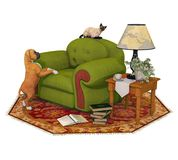Boxer Dog Puppy, Cat, and Chair Set Isolated vector illustration