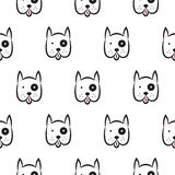 Boxer dog seamless vector monochrome pattern. Stock Photo