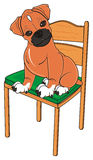 Boxer dog sitting on the chair vector illustration