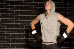 Boxer doing breathing exercises before a fight Stock Photos