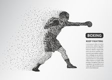 Boxer dots silhouette, Boxing fighter banner vector Royalty Free Stock Image