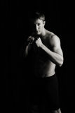 Boxer, fighter. Ready to fight, boxer, mma, fighter, low key, black background Royalty Free Stock Image