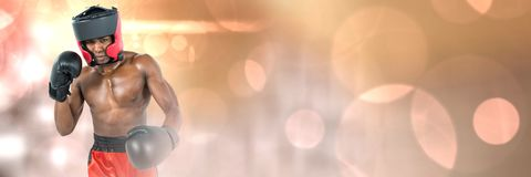 Boxer fighter man with sparkle lights bokeh transition Stock Photo
