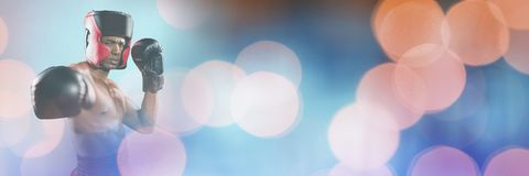 Boxer fighter man with sparkling lights bokeh transition Stock Photos