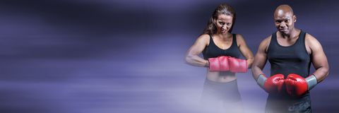 Boxer fighter man and woman with purple transition Stock Photography