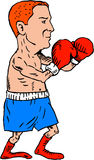 Boxer Fighting Stance Cartoon. Illustration of a boxer wearing with boxing gloves in fighting stance pose viewed from the side set on  white background done in Royalty Free Stock Photography