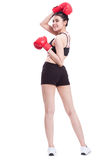 Boxer - fitness woman boxing wearing boxing gloves Stock Photo