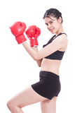 Boxer - fitness woman boxing wearing boxing gloves Stock Photography