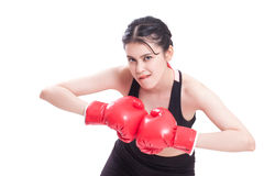 Boxer - fitness woman boxing wearing boxing gloves Stock Photos