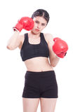 Boxer - fitness woman boxing wearing boxing gloves Stock Images