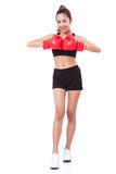 Boxer - fitness woman boxing wearing boxing red gloves Stock Photo