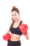 Boxer - fitness woman boxing wearing boxing red gloves Royalty Free Stock Photo