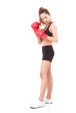 Boxer - fitness woman boxing wearing boxing red gloves Stock Photos