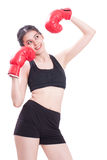 Boxer - Full length fitness woman boxing wearing boxing red gloves Royalty Free Stock Photos