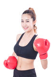 Boxer - Full length fitness woman boxing wearing boxing red gloves Royalty Free Stock Images