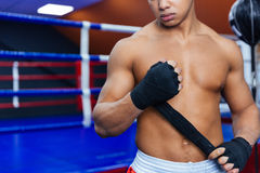Boxer getting ready for fight. Cropped image of a boxer getting ready for fight Royalty Free Stock Photo
