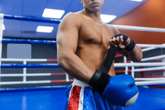 Boxer getting ready for fight Royalty Free Stock Photos