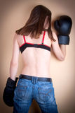 Boxer girl with boxer gloves Stock Photo