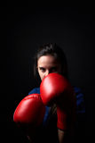 The Boxer Girl. The Girl in Red Boxing Gloves Stock Photography