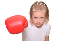 Boxer girl in red gloves Stock Images