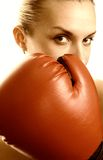 Boxer girl in red gloves. Picture of a Boxer girl in red gloves Stock Image