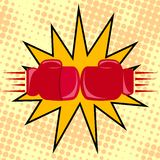 Boxer gloves hitting Stock Photo