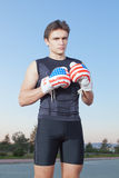 Boxer with gloves of the United States of America. Stock Photo
