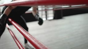 Boxer Going Through Arena Ropes. Athletic young boxer with black gloves entering ring through arena ropes, indoor studio slowmotion stock video footage