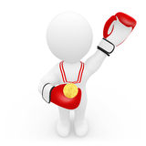 Boxer with gold medal. 3D boxer with gold medal and gloves Royalty Free Stock Photos