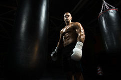 Boxer in gym with punching bag Stock Photography