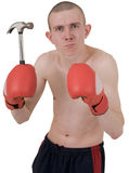 Boxer and hammer Royalty Free Stock Images