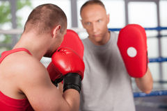 Boxer and his coach doing some sparring in ring. Stock Photography