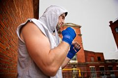 Boxer in the hood Stock Photography