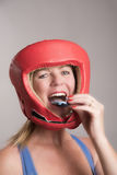 Boxer Inserting A Gum Shield Into The Mouth Stock Photography
