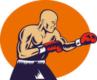 Boxer jabbing side view Royalty Free Stock Image