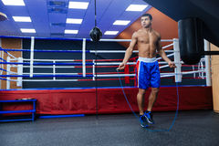 Boxer jumping with skipping rope Royalty Free Stock Photos