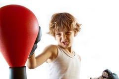 Boxer kid training royalty free stock photos