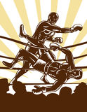 Boxer knockout boxing ring Stock Image